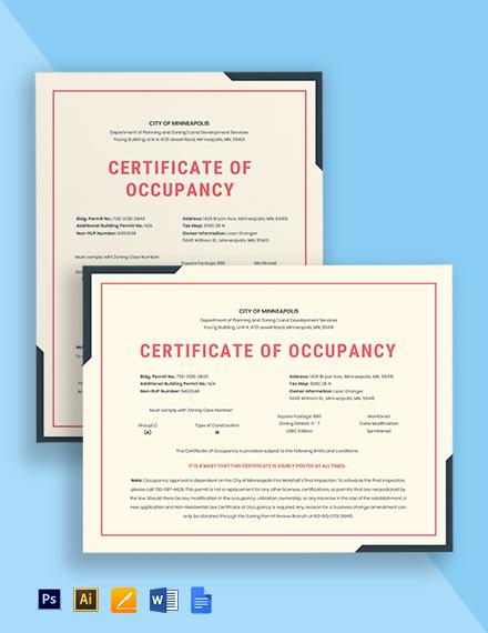 Certificate of Occupancy Template