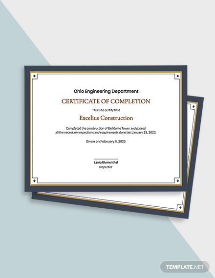 Building Construction Completion Certificate Template