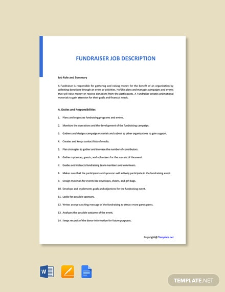 Free Fund Raiser Job Ad and Description Template