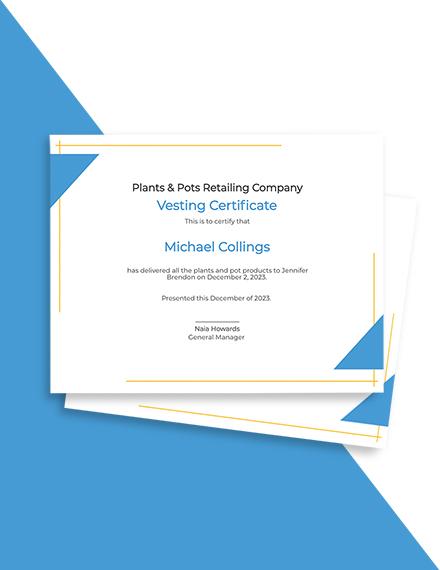 Vesting Certificate Template