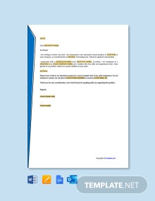 Free Letter of Intent for Job Application Template