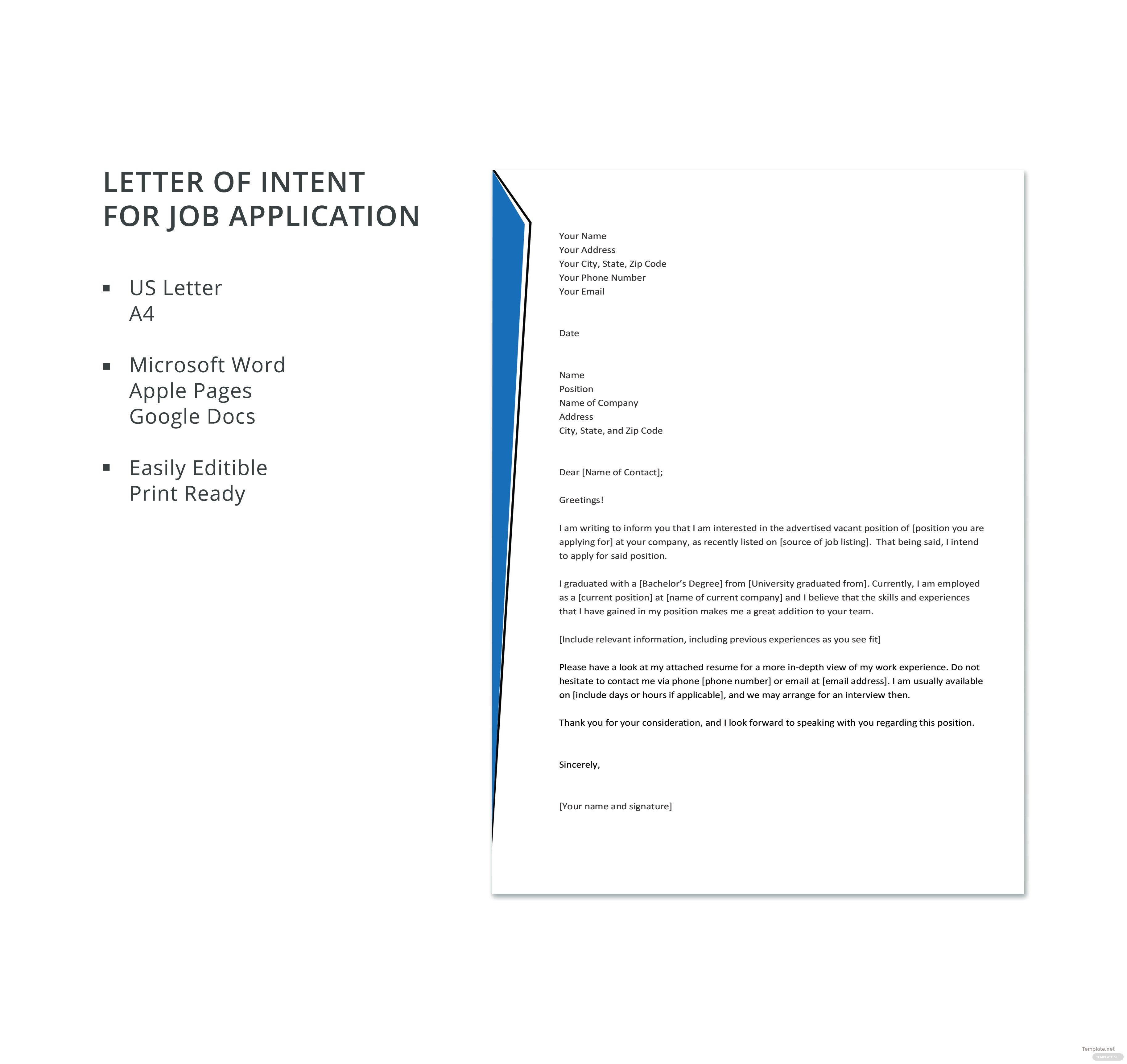 letter of intent for job application pdf