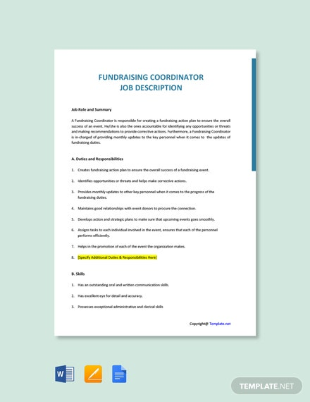 Free Fundraising Coordinator Job Ad and Description Template