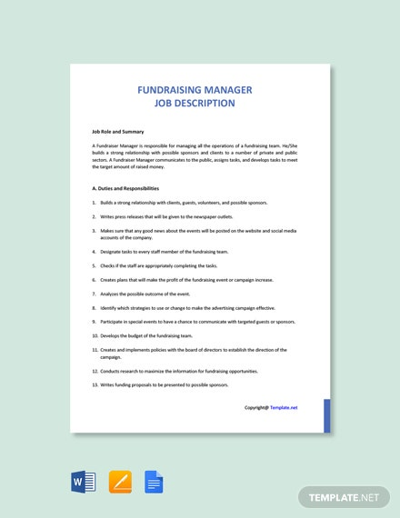 Free Fundraising Manager Job Description Template