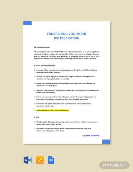 Free Fundraising Volunteer Job Description Template
