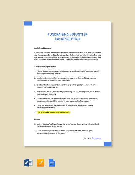 Free Fundraising Volunteer Job Description Template