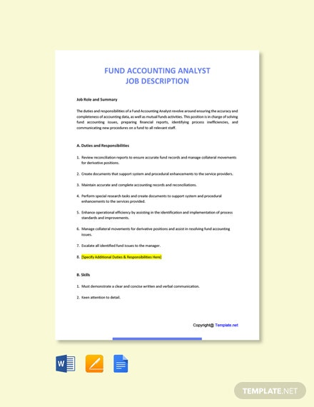 Free Fund Accounting Analyst Job Description Template