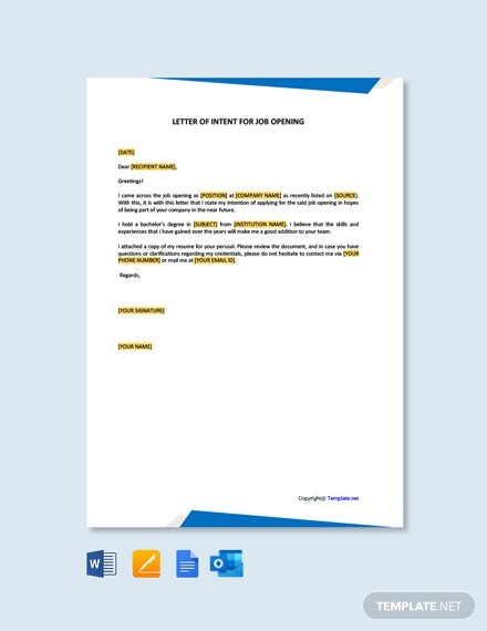 Letter of Intent for Job Opening Template