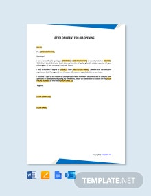 Free Letter of Intent for Job Opening Template