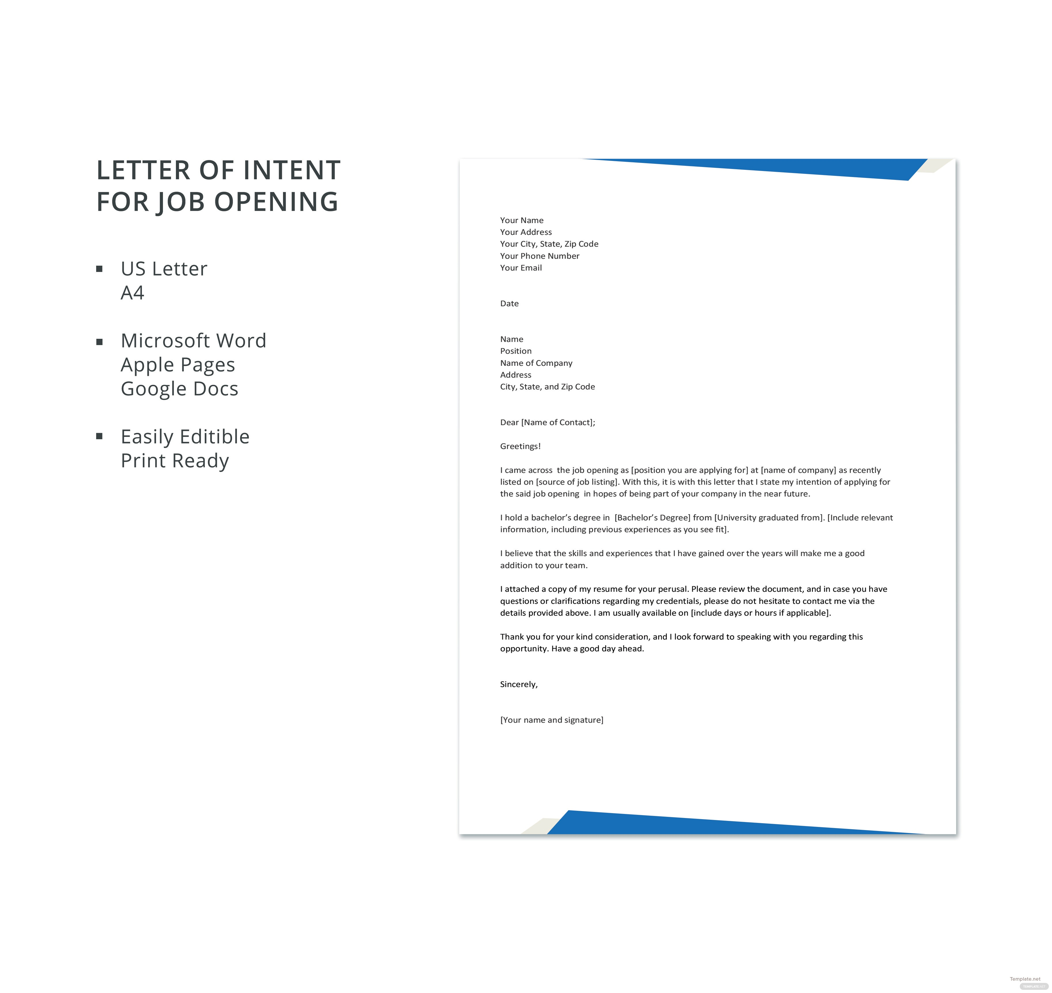 Letter Of Intent For Job Opening Template In Microsoft