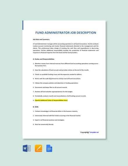Free Fund Administrator Job Description Template