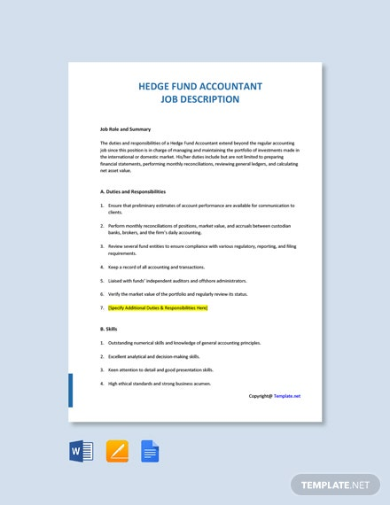 Hedge Fund Accountant Job Description