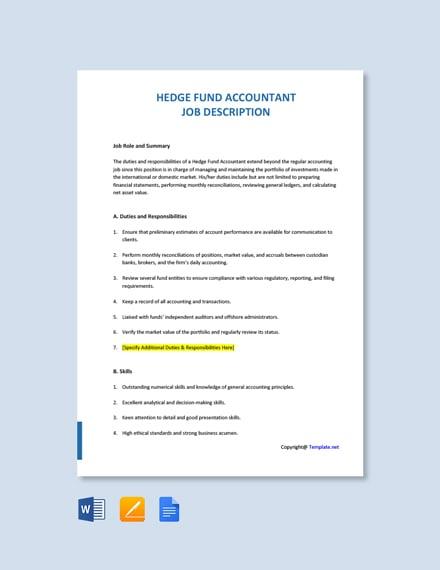 Free Hedge Fund Accountant Job Description Template