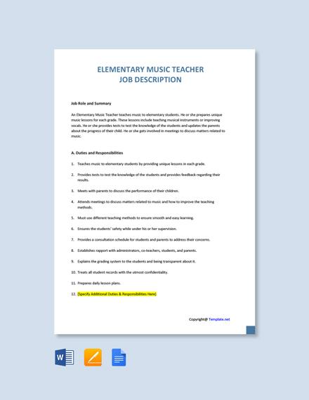 Free Elementary Music Teacher Job Description Template