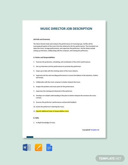Free Music Director Job Description Template