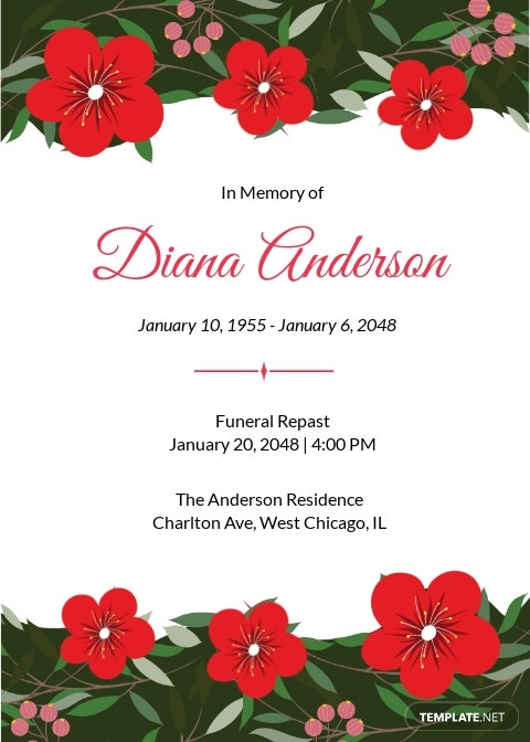 Funeral Repast Invitation Template