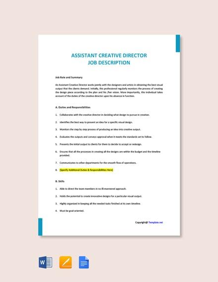 Free Assistant Creative Director Job Description Template