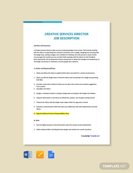 Free Creative Services Director Job Description Template