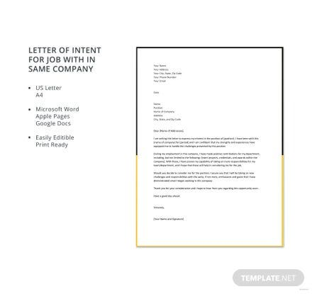 Free Letter of Intent for Job within Same Company