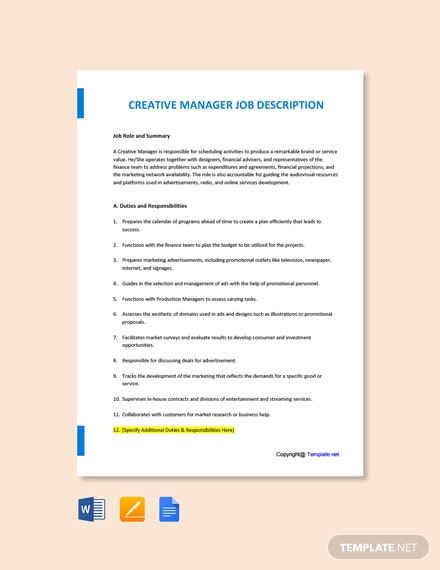 Free Creative Manager Job Description Template