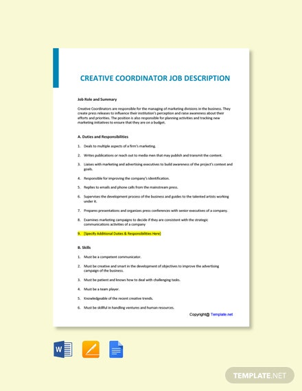 Free Creative Coordinator Job Description Template