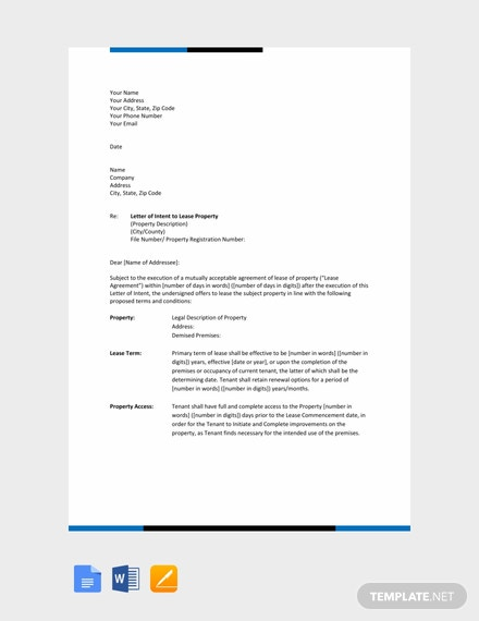 free letter of intent to lease template download 700 letters in