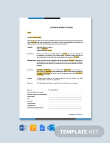 Free Letter of Intent to Lease Template