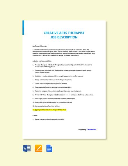 Free Creative Arts Therapist Job Ad and Description Template