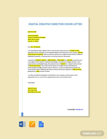 Free Digital Creative Director Cover Letter Template