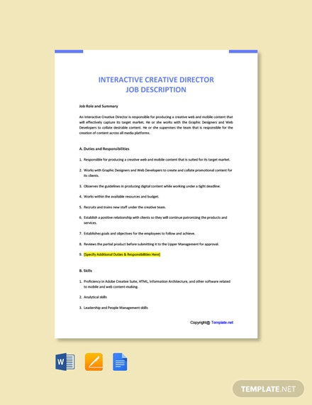 Free Interactive Creative Director Job Ad and Description Template