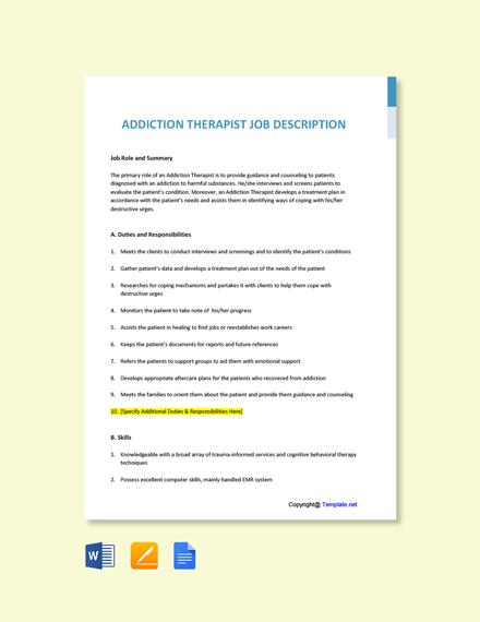 Free Addiction Therapist Job Ad/Description Template