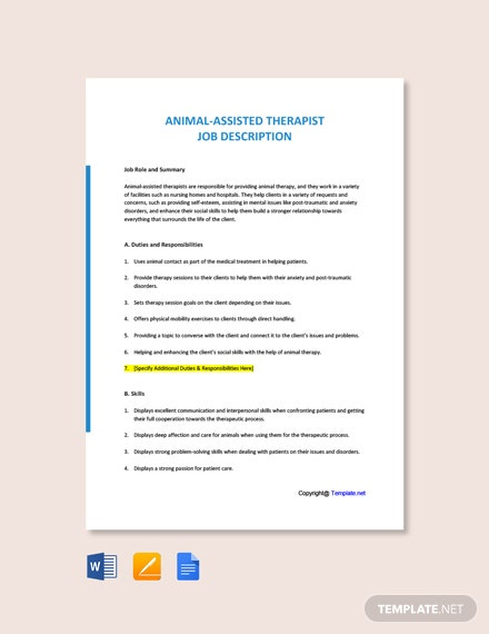 Free Animal-Assisted Therapist Job Ad/Description Template