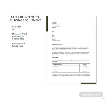 Free Letter of Intent to Purchase Equipment Template