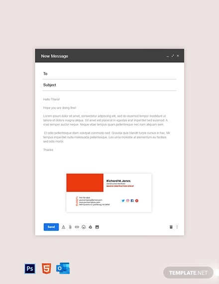 Construction Marketing Email Signature Template