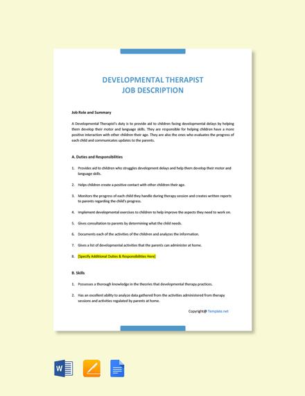 Free Developmental Therapist Job Ad and Description Template