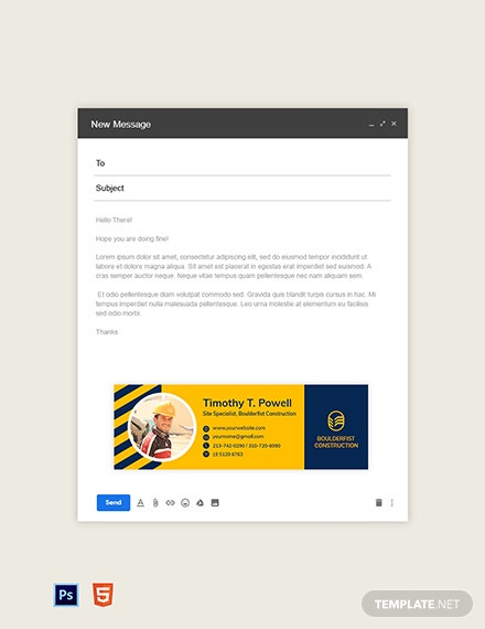 Small Construction Business Email Signature Template