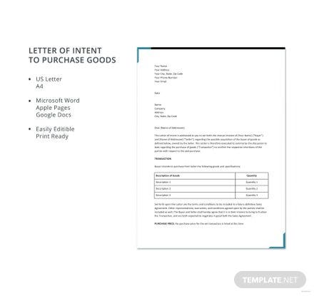 Free Letter of Intent to Purchase Goods Template