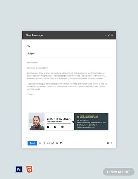 Construction Manager Email Signature Template