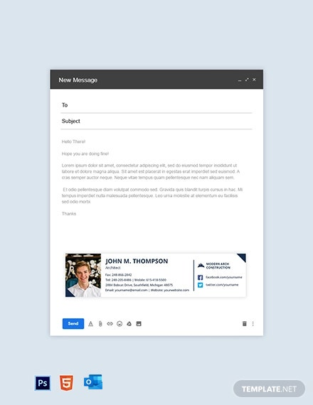 Construction Company Email Signature Template
