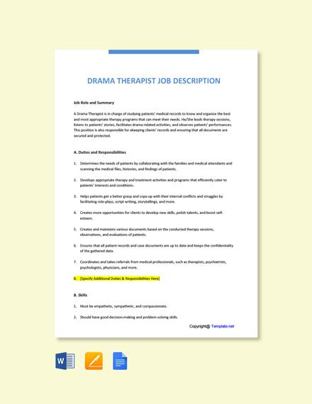 Free Drama Therapist Job Description Template