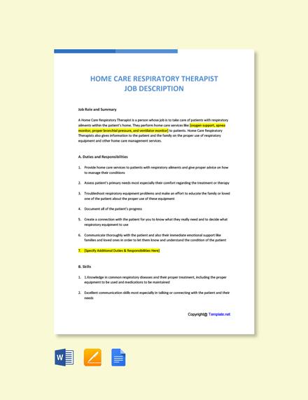 Free Home Care Respiratory Therapist Job Description Template