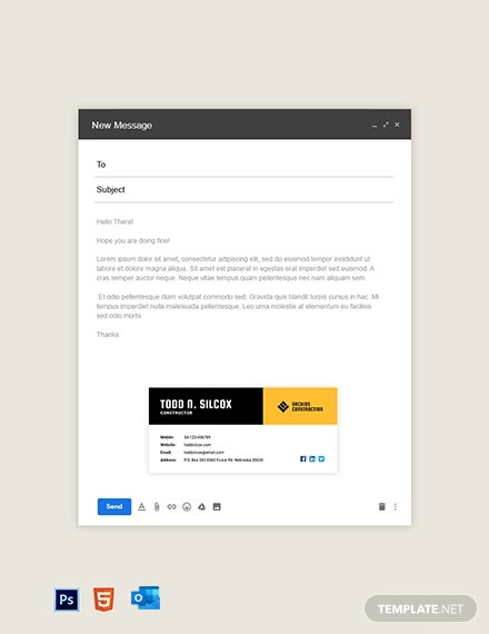 Free Basic Construction Email Signature Template