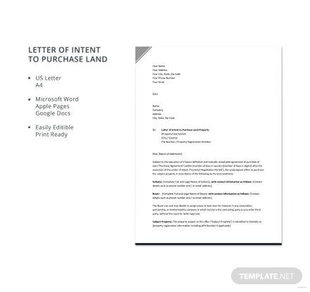 Free Letter of Intent to Purchase Land
