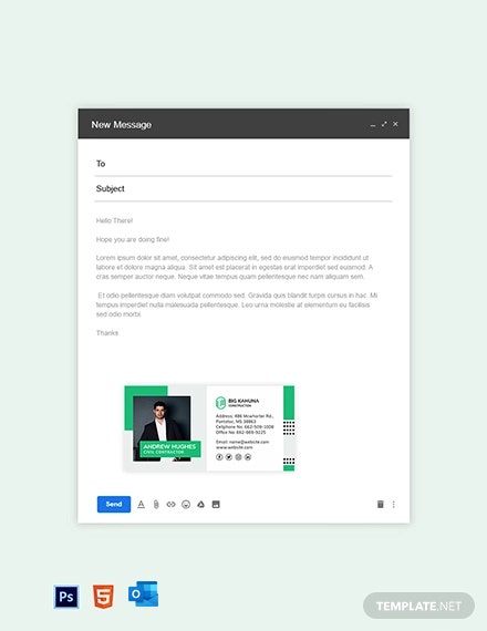 Free Professional Construction Email Signature Template