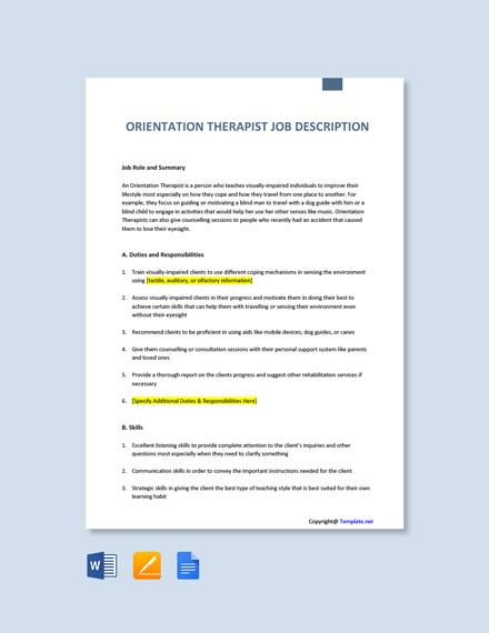 Free Orientation Therapist Job Description Template