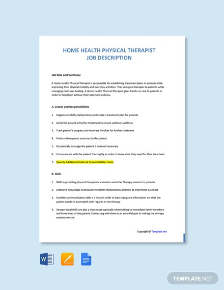 Free Home Health Physical Therapist Job Description Template