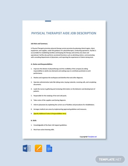 Free Physical Therapist Aide Job Description Template
