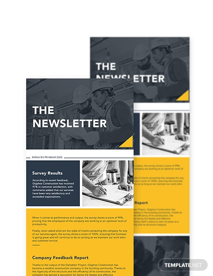 Survey  Feedback Construction Company Newsletter Template