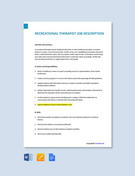 Free Recreational Therapist Job Description Template