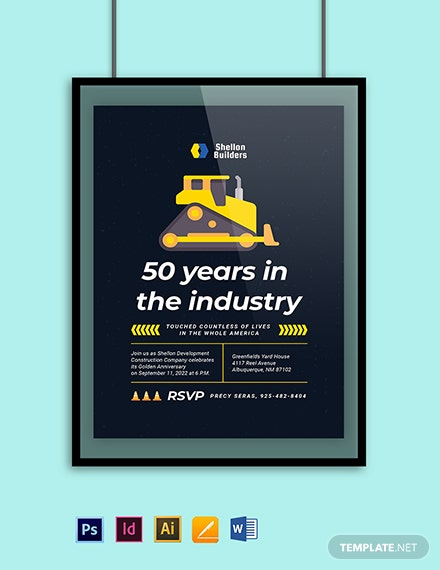 Construction Company Anniversary Invitation Template